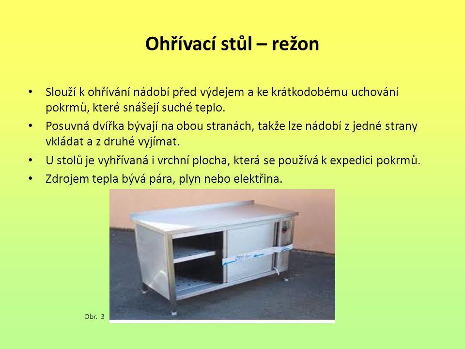 Ohřívací stůl – režon Slouží k ohřívání nádobí před výdejem a ke krátkodobému uchování pokrmů, které snášejí suché teplo. Posuvná dvířka bývají na obo