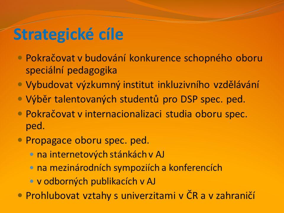 Strategické cíle Pokračovat v budování konkurence schopného oboru speciální pedagogika Vybudovat výzkumný institut inkluzivního vzdělávání Výběr talen