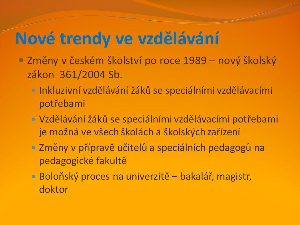 Nové trendy ve vzdělávání Změny v českém školství po roce 1989 – nový školský zákon 361/2004 Sb. Inkluzivní vzdělávání žáků se speciálními vzdělávacím
