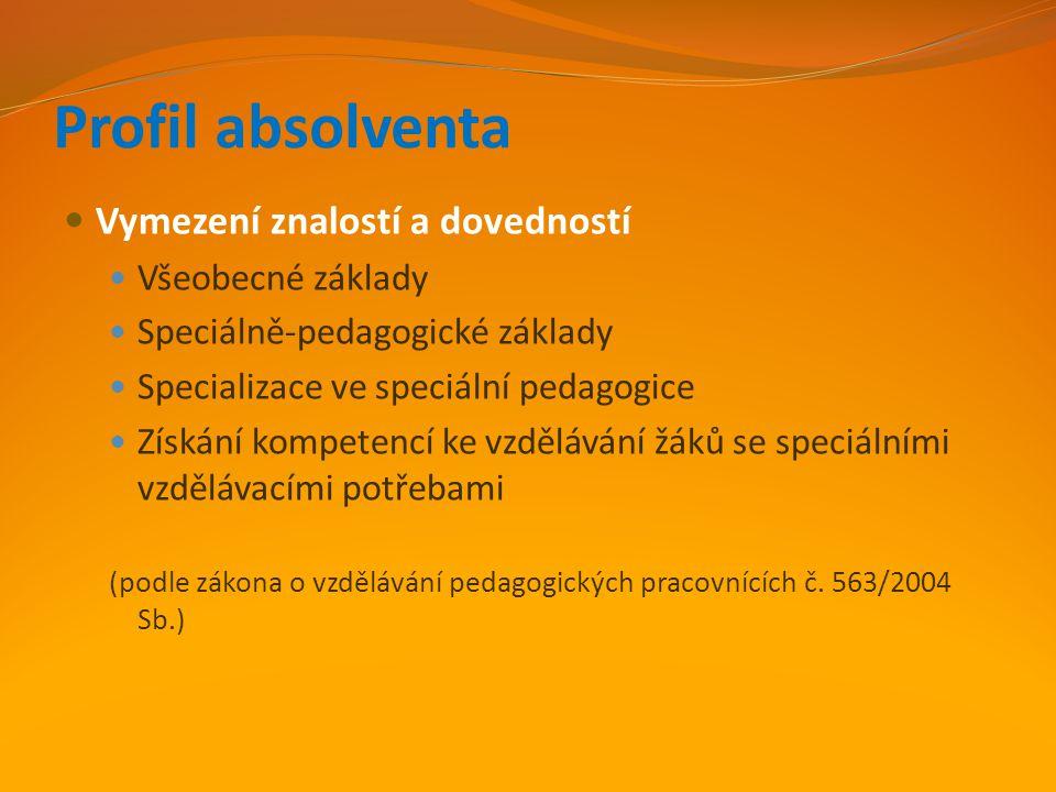 Profil absolventa Vymezení znalostí a dovedností Všeobecné základy Speciálně-pedagogické základy Specializace ve speciální pedagogice Získání kompeten