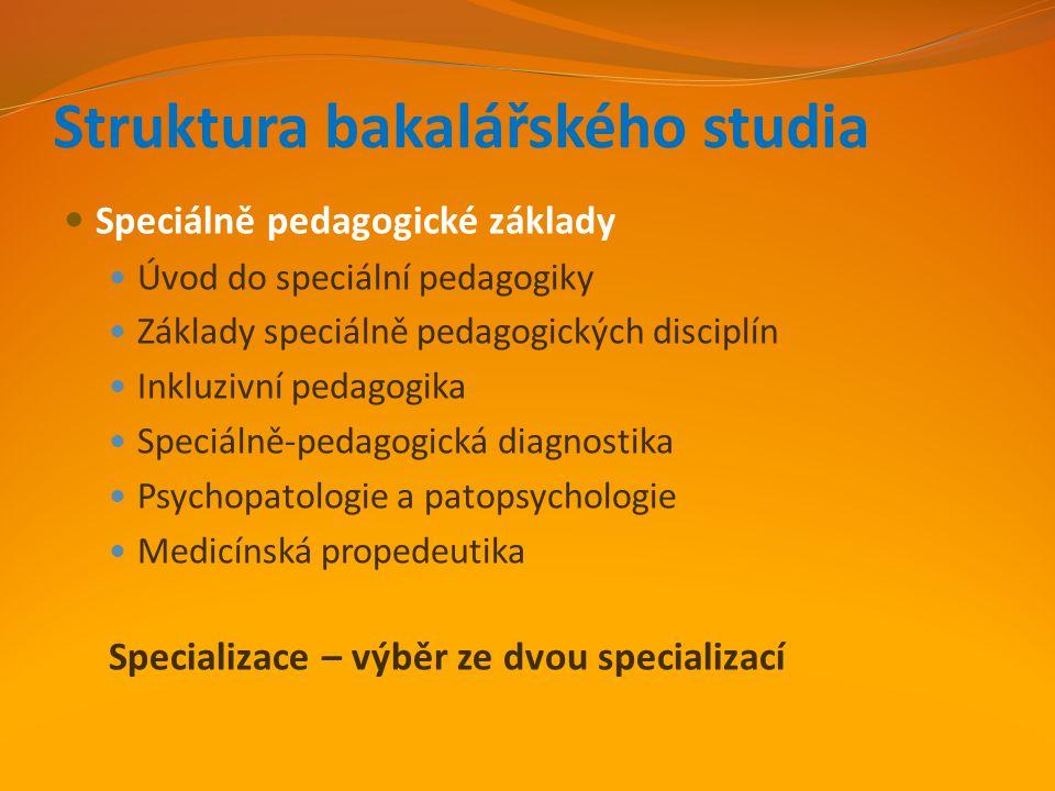 Struktura bakalářského studia Speciálně pedagogické základy Úvod do speciální pedagogiky Základy speciálně pedagogických disciplín Inkluzivní pedagogi