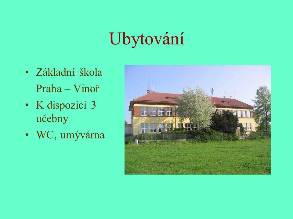 Ubytování Základní škola Praha – Vinoř K dispozici 3 učebny WC, umývárna