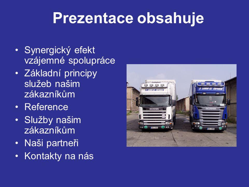 Synergický efekt vzájemné spolupráce Základní principy služeb našim zákazníkům Reference Služby našim zákazníkům Naši partneři Kontakty na nás Prezentace obsahuje