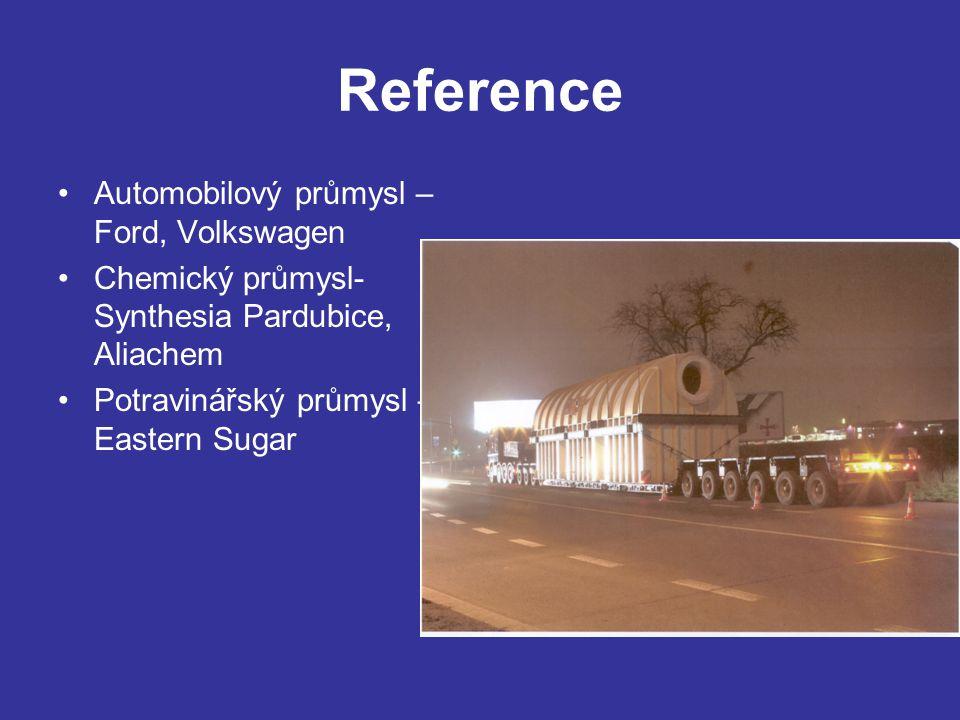 Reference Automobilový průmysl – Ford, Volkswagen Chemický průmysl- Synthesia Pardubice, Aliachem Potravinářský průmysl – Eastern Sugar