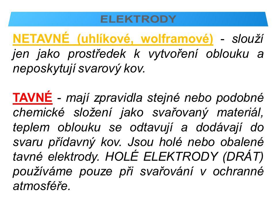 OBALENÉ ELEKTRODY - použití pro stejnosměrný i střídavý proud.