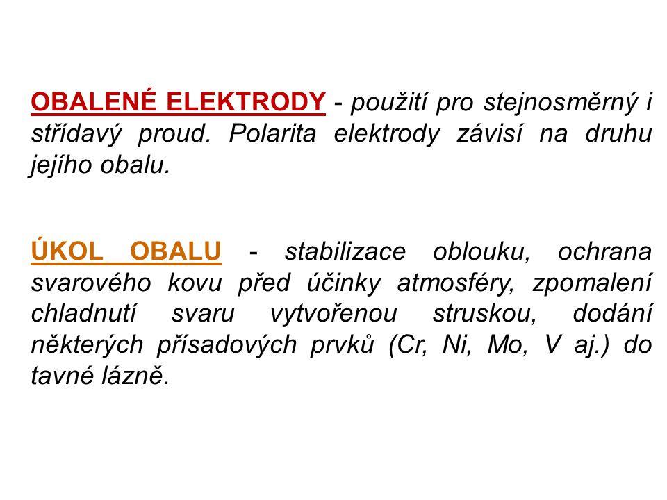 OBALENÉ ELEKTRODY - použití pro stejnosměrný i střídavý proud. Polarita elektrody závisí na druhu jejího obalu. ÚKOL OBALU - stabilizace oblouku, ochr