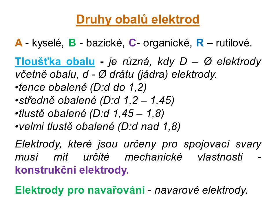 Druhy obalů elektrod A - kyselé, B - bazické, C- organické, R – rutilové. Tloušťka obalu - je různá, kdy D – Ø elektrody včetně obalu, d - Ø drátu (já