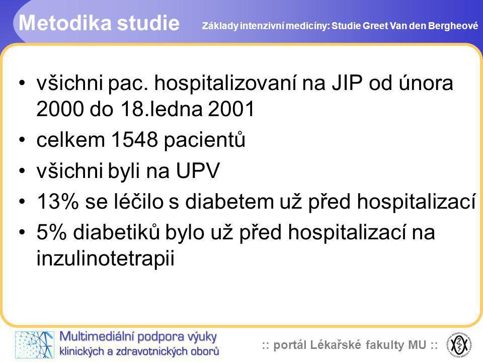 :: portál Lékařské fakulty MU :: Metodika studie Základy intenzivní medicíny: Studie Greet Van den Bergheové všichni pac. hospitalizovaní na JIP od ún