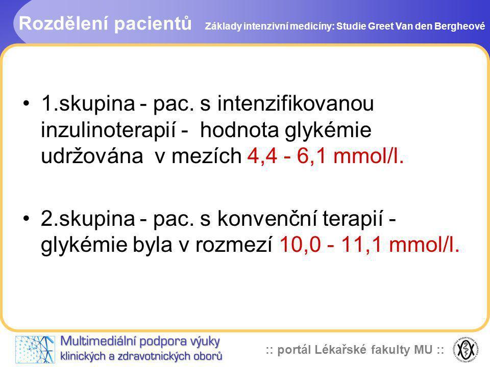 :: portál Lékařské fakulty MU :: Rozdělení pacientů Základy intenzivní medicíny: Studie Greet Van den Bergheové 1.skupina - pac. s intenzifikovanou in