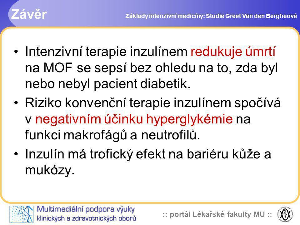 :: portál Lékařské fakulty MU :: Závěr Základy intenzivní medicíny: Studie Greet Van den Bergheové Intenzivní terapie inzulínem redukuje úmrtí na MOF