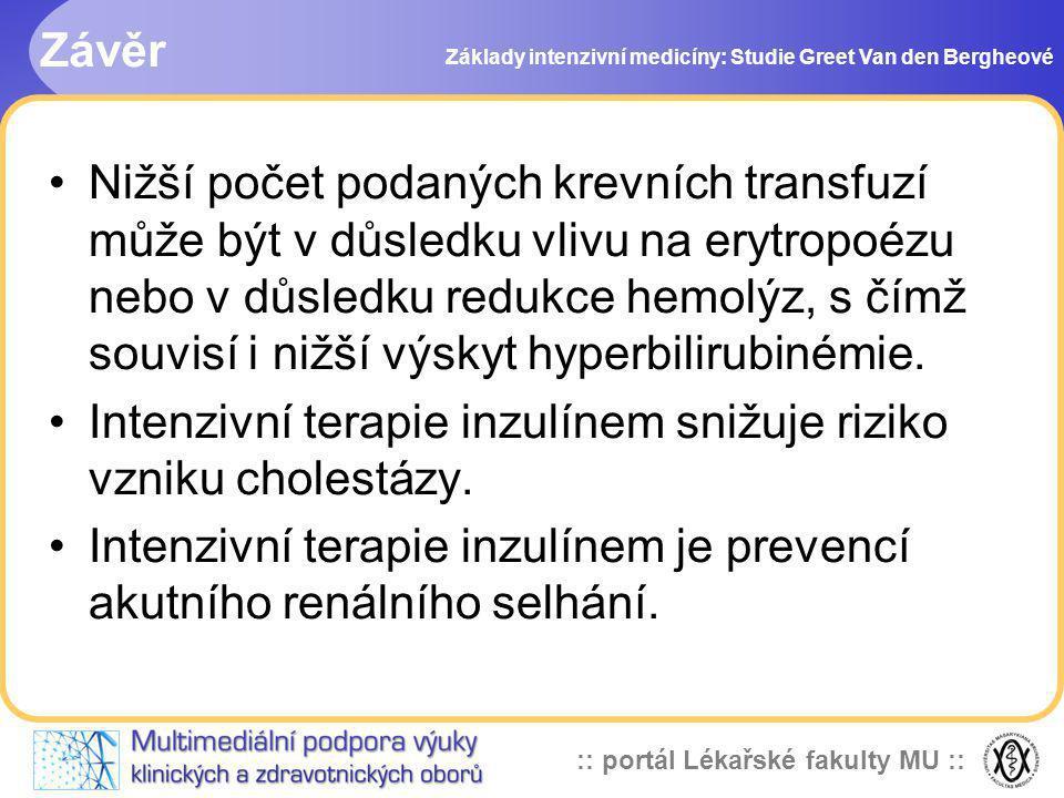 :: portál Lékařské fakulty MU :: Závěr Základy intenzivní medicíny: Studie Greet Van den Bergheové Nižší počet podaných krevních transfuzí může být v