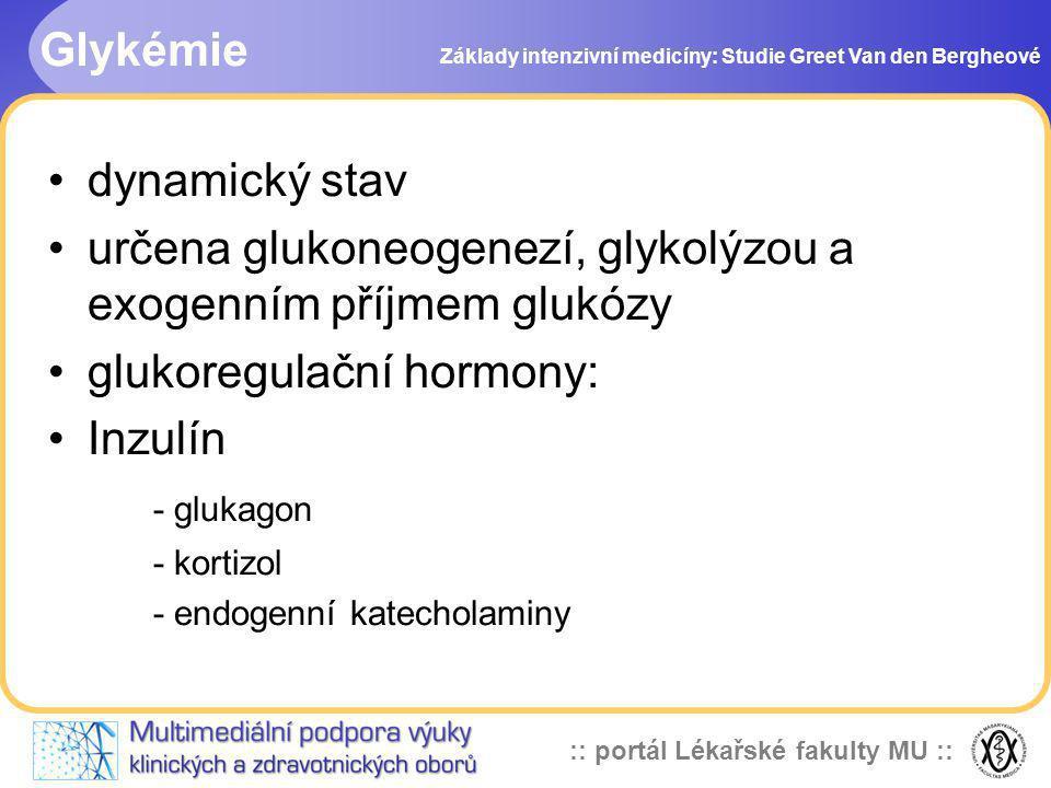 :: portál Lékařské fakulty MU :: Glykémie Základy intenzivní medicíny: Studie Greet Van den Bergheové dynamický stav určena glukoneogenezí, glykolýzou