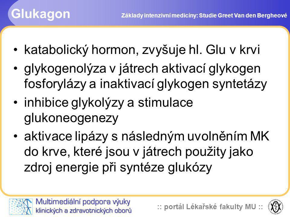 :: portál Lékařské fakulty MU :: Glukagon Základy intenzivní medicíny: Studie Greet Van den Bergheové katabolický hormon, zvyšuje hl. Glu v krvi glyko