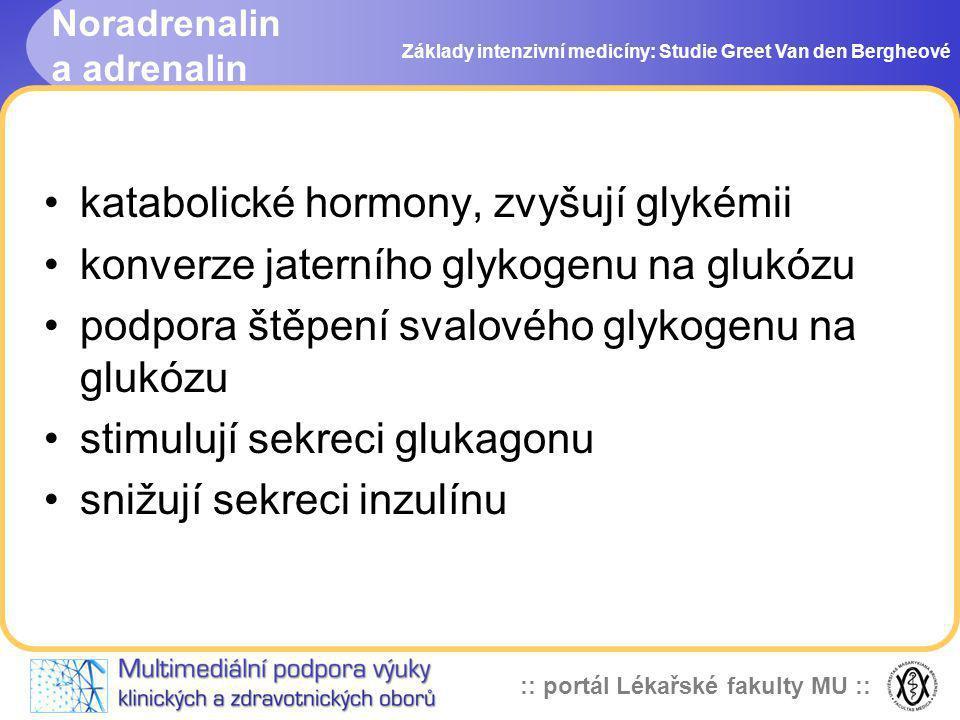 :: portál Lékařské fakulty MU :: Noradrenalin a adrenalin Základy intenzivní medicíny: Studie Greet Van den Bergheové katabolické hormony, zvyšují gly