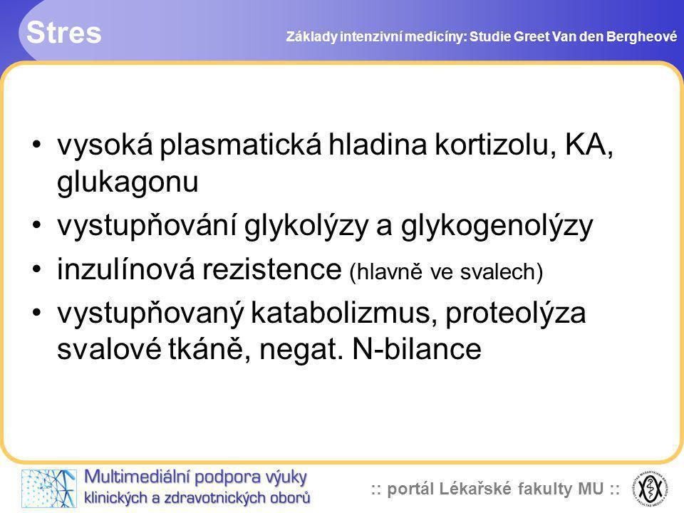 :: portál Lékařské fakulty MU :: Stres Základy intenzivní medicíny: Studie Greet Van den Bergheové vysoká plasmatická hladina kortizolu, KA, glukagonu