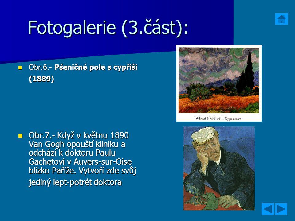 Fotogalerie (3.část): Obr.6.- Pšeničné pole s cypřiši (1889) Obr.6.- Pšeničné pole s cypřiši (1889) Obr.7.- Když v květnu 1890 Van Gogh opouští klinik