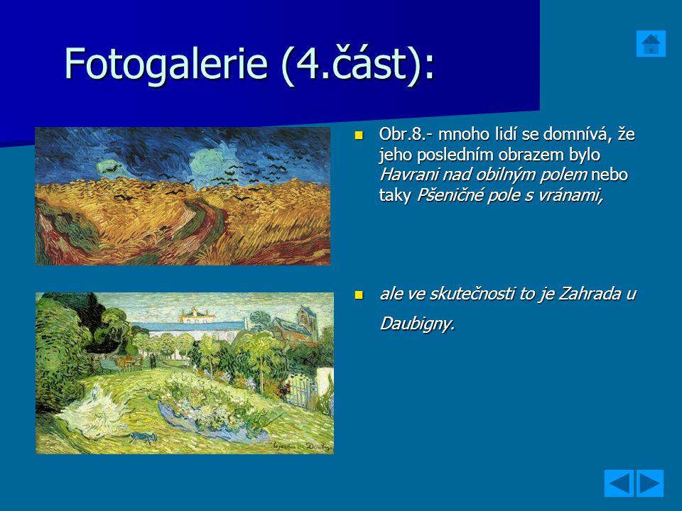 Fotogalerie (4.část): Obr.8.- mnoho lidí se domnívá, že jeho posledním obrazem bylo Havrani nad obilným polem nebo taky Pšeničné pole s vránami, Obr.8