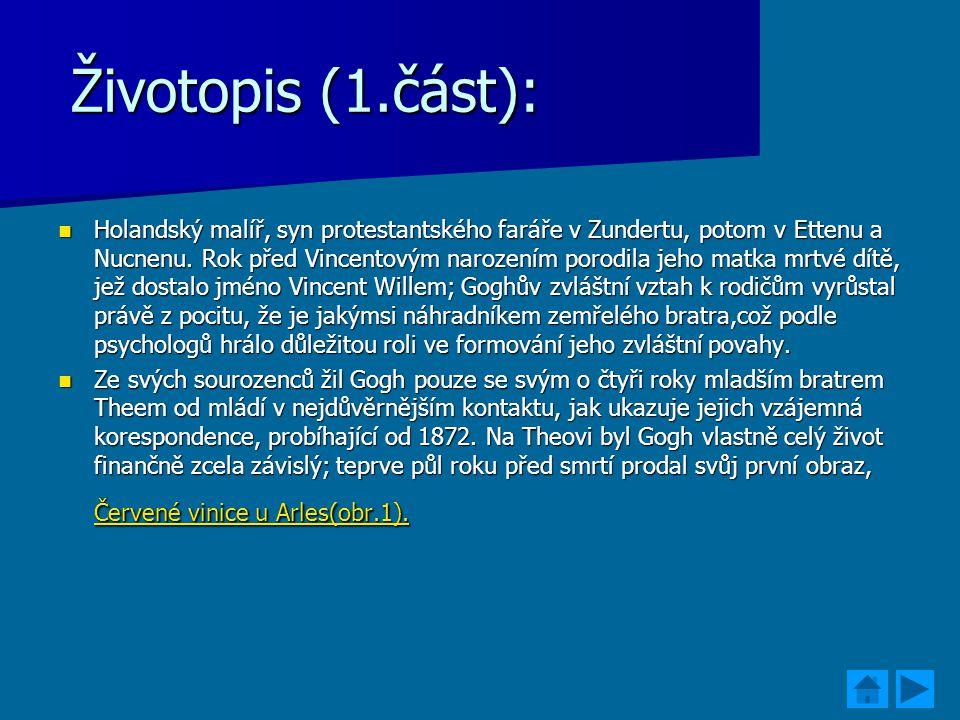 Životopis (1.část): Životopis (1.část): Holandský malíř, syn protestantského faráře v Zundertu, potom v Ettenu a Nucnenu. Rok před Vincentovým narozen