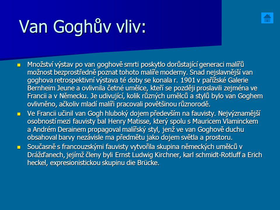 Van Goghův vliv: Množství výstav po van goghově smrti poskytlo dorůstající generaci malířů možnost bezprostředně poznat tohoto malíře moderny. Snad ne