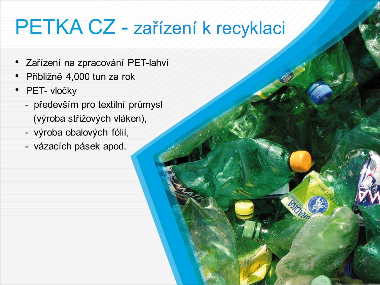 PETKA CZ - zařízení k recyklaci Zařízení na zpracování PET-lahví Přibližně 4,000 tun za rok PET- vločky - především pro textilní průmysl (výroba střižových vláken), - výroba obalových fólií, - vázacích pásek apod.