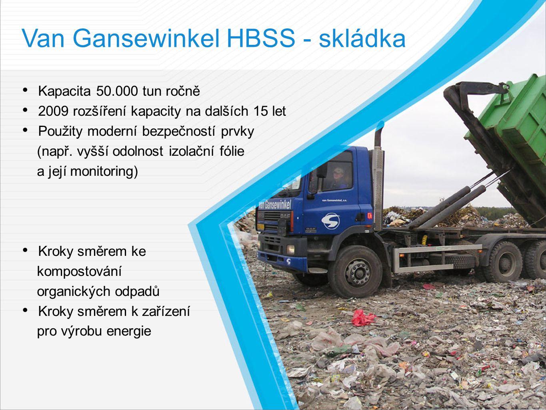 Van Gansewinkel HBSS - skládka Kapacita 50.000 tun ročně 2009 rozšíření kapacity na dalších 15 let Použity moderní bezpečností prvky (např.