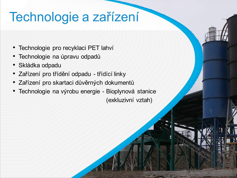 Technologie a zařízení Technologie pro recyklaci PET lahví Technologie na úpravu odpadů Skládka odpadu Zařízení pro třídění odpadu - třídící linky Zařízení pro skartaci důvěrných dokumentů Technologie na výrobu energie - Bioplynová stanice (exkluzivní vztah)