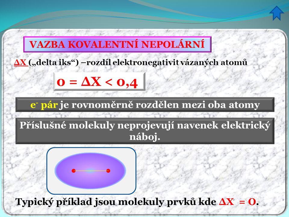 """∆X (""""delta iks"""") –rozdíl elektronegativit vázaných atomů 0 = ∆X < 0,4 e - pár je rovnoměrně rozdělen mezi oba atomy VAZBA KOVALENTNÍ NEPOLÁRNÍ Typický"""