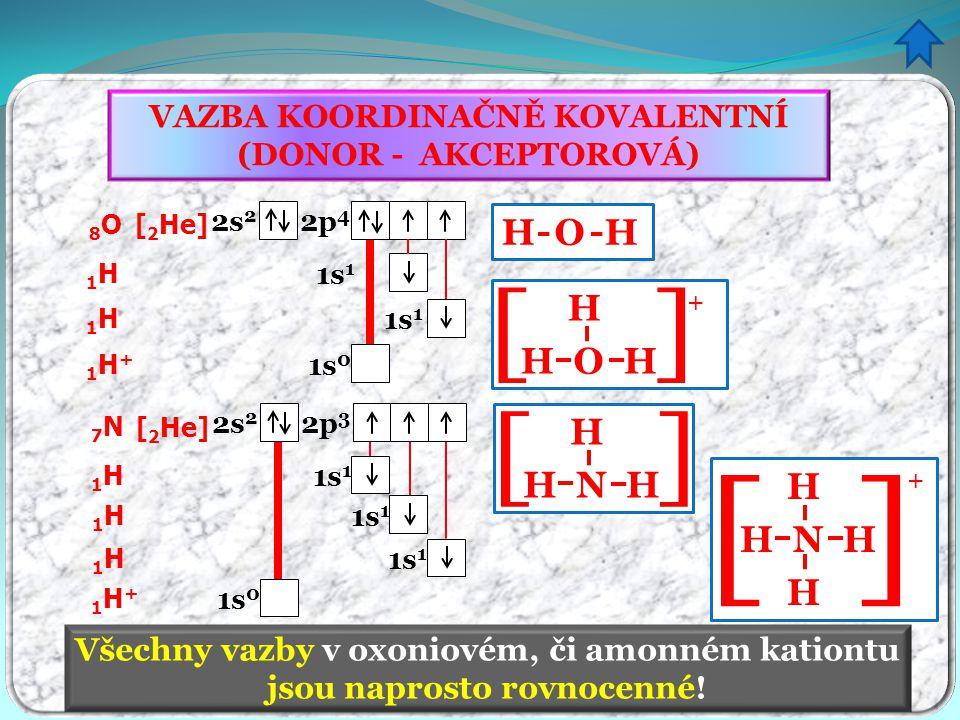 VAZBA KOORDINAČNĚ KOVALENTNÍ (DONOR - AKCEPTOROVÁ) Všechny vazby v oxoniovém, či amonném kationtu jsou naprosto rovnocenné! 8O8O [ 2 He] 2s 2 2p 4 1H1