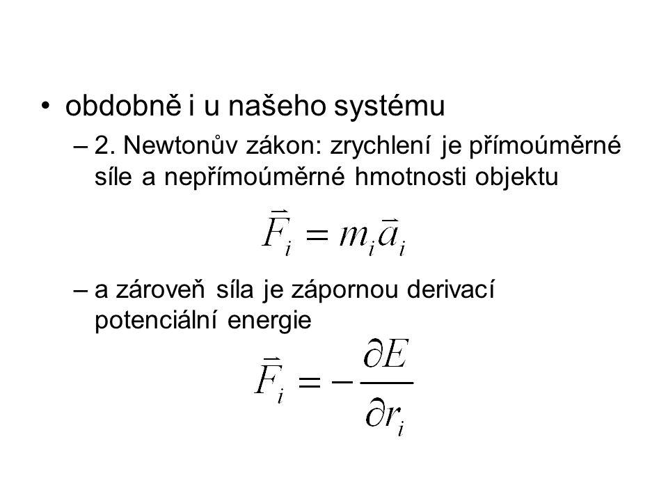 obdobně i u našeho systému –2. Newtonův zákon: zrychlení je přímoúměrné síle a nepřímoúměrné hmotnosti objektu –a zároveň síla je zápornou derivací po