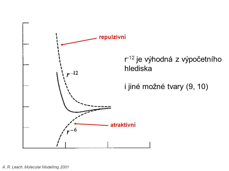 atraktivní repulzivní r -12 je výhodná z výpočetního hlediska i jiné možné tvary (9, 10) A. R. Leach, Molecular Modelling, 2001