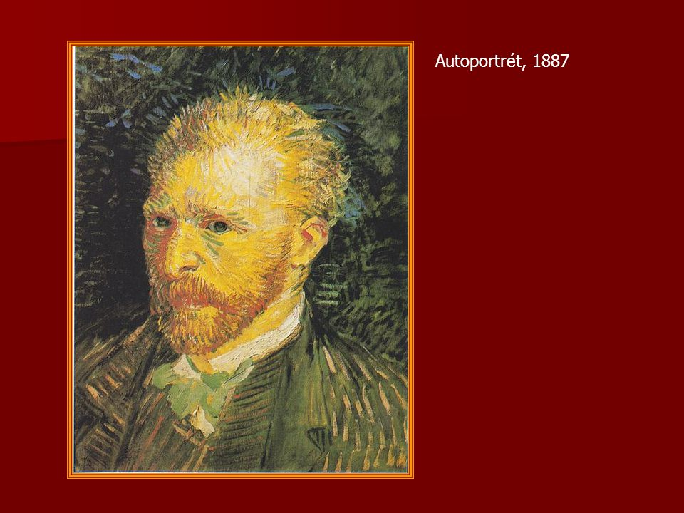1888 – odchod do Provence Vincent odchází do Provence, kde je podle něho více barvy a světla Vincent odchází do Provence, kde je podle něho více barvy a světla maluje květiny, ovocné zahrady, města v Provence, kanály s mosty, krajiny maluje květiny, ovocné zahrady, města v Provence, kanály s mosty, krajiny Vincent pracuje tak zběsile a v takovém tempu, že to vede k jeho vyčerpání, duševní krizi a nakonec ke zmrzačení sebe sama Vincent pracuje tak zběsile a v takovém tempu, že to vede k jeho vyčerpání, duševní krizi a nakonec ke zmrzačení sebe sama