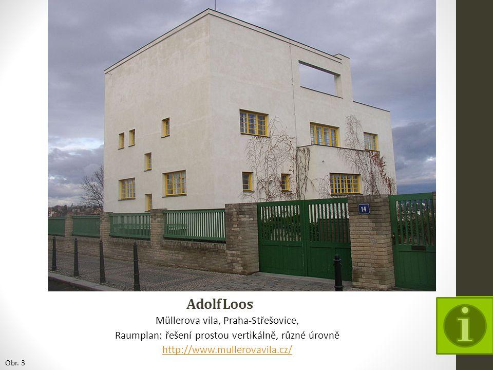 Adolf Loos Müllerova vila, Praha-Střešovice, Raumplan: řešení prostou vertikálně, různé úrovně http://www.mullerovavila.cz/ Obr. 3