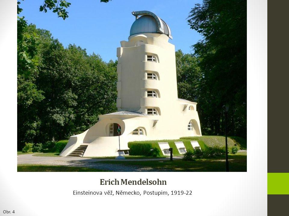 Erich Mendelsohn Einsteinova věž, Německo, Postupim, 1919-22 Obr. 4