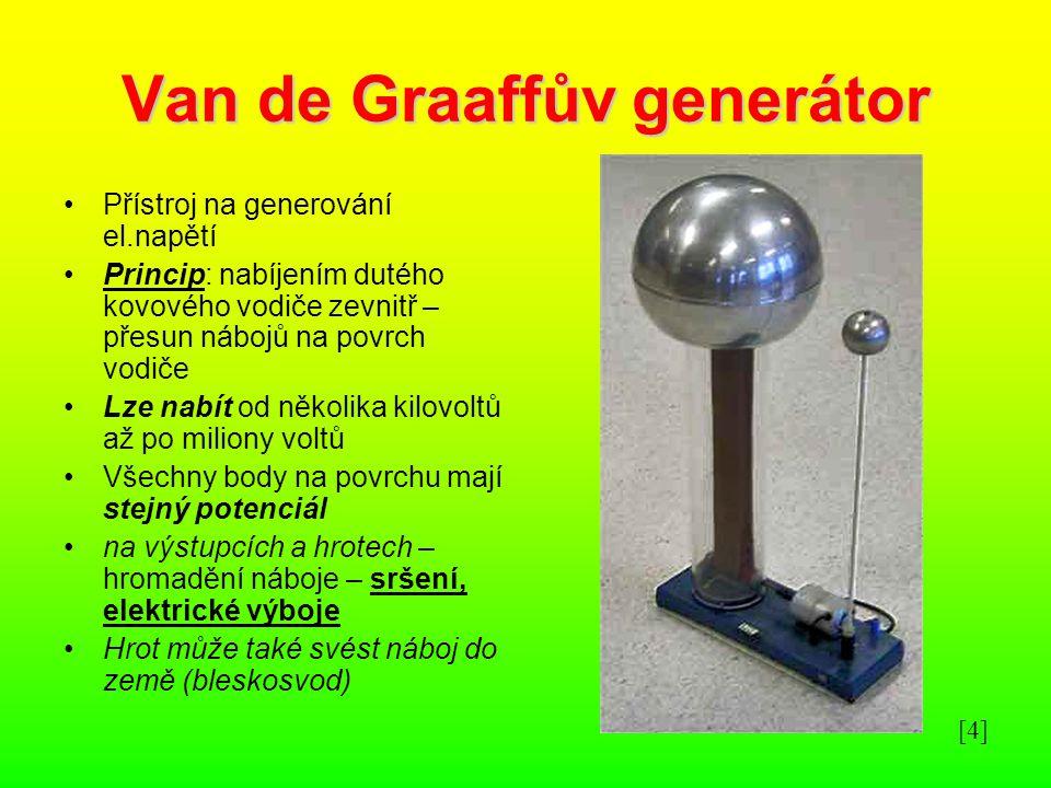 Van de Graaffův generátor Přístroj na generování el.napětí Princip: nabíjením dutého kovového vodiče zevnitř – přesun nábojů na povrch vodiče Lze nabí