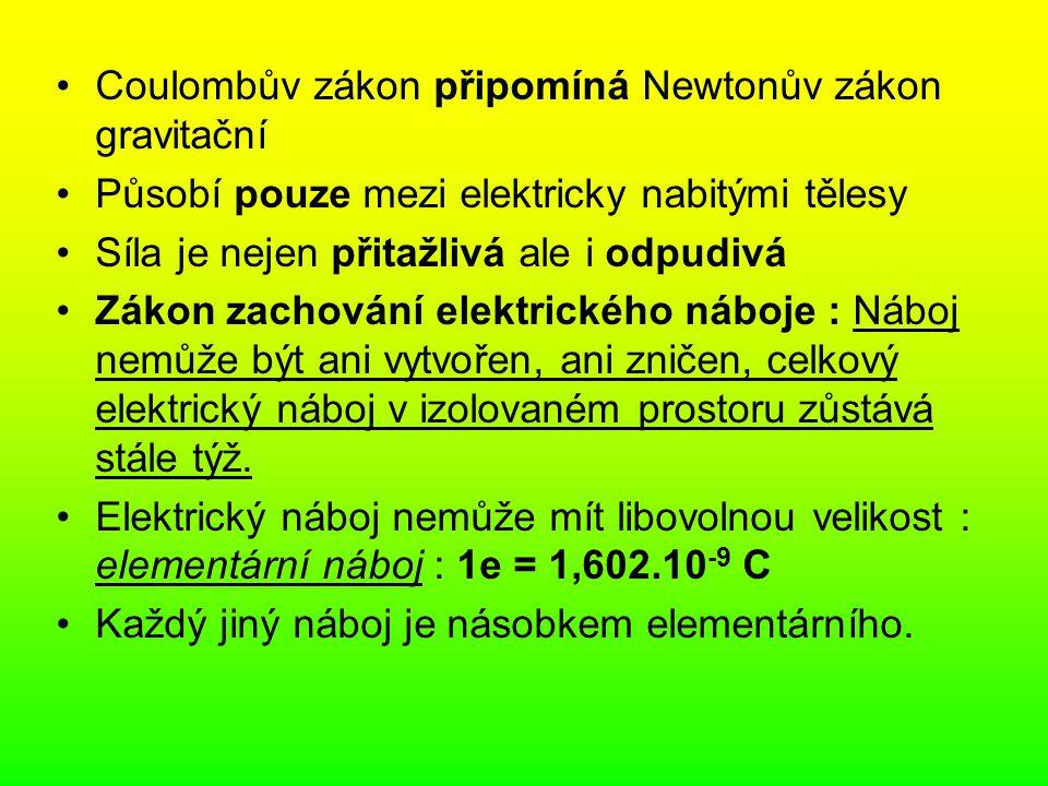 Coulombův zákon připomíná Newtonův zákon gravitační Působí pouze mezi elektricky nabitými tělesy Síla je nejen přitažlivá ale i odpudivá Zákon zachová