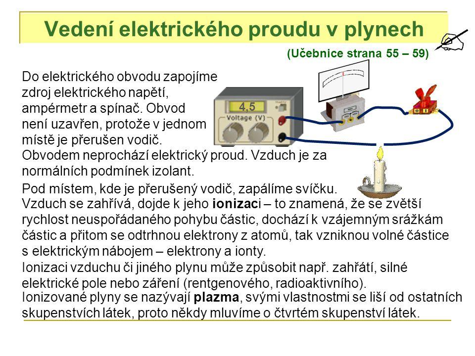 Vedení elektrického proudu v plynech (Učebnice strana 55 – 59) 4,5 Do elektrického obvodu zapojíme zdroj elektrického napětí, ampérmetr a spínač. Obvo