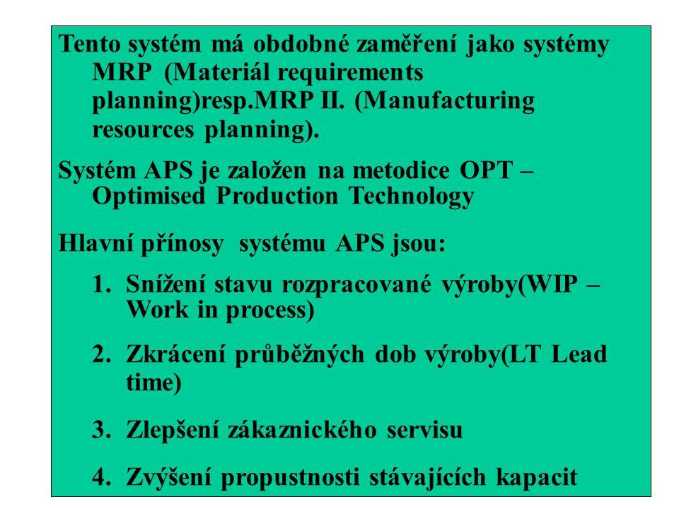 Tento systém má obdobné zaměření jako systémy MRP (Materiál requirements planning)resp.MRP II. (Manufacturing resources planning). Systém APS je založ