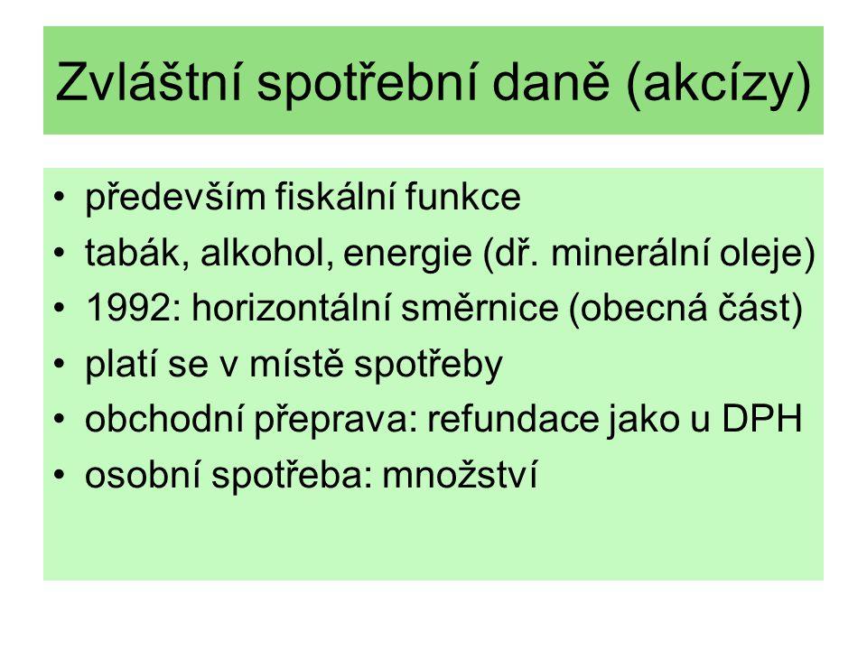 Zvláštní spotřební daně (akcízy) především fiskální funkce tabák, alkohol, energie (dř. minerální oleje) 1992: horizontální směrnice (obecná část) pla