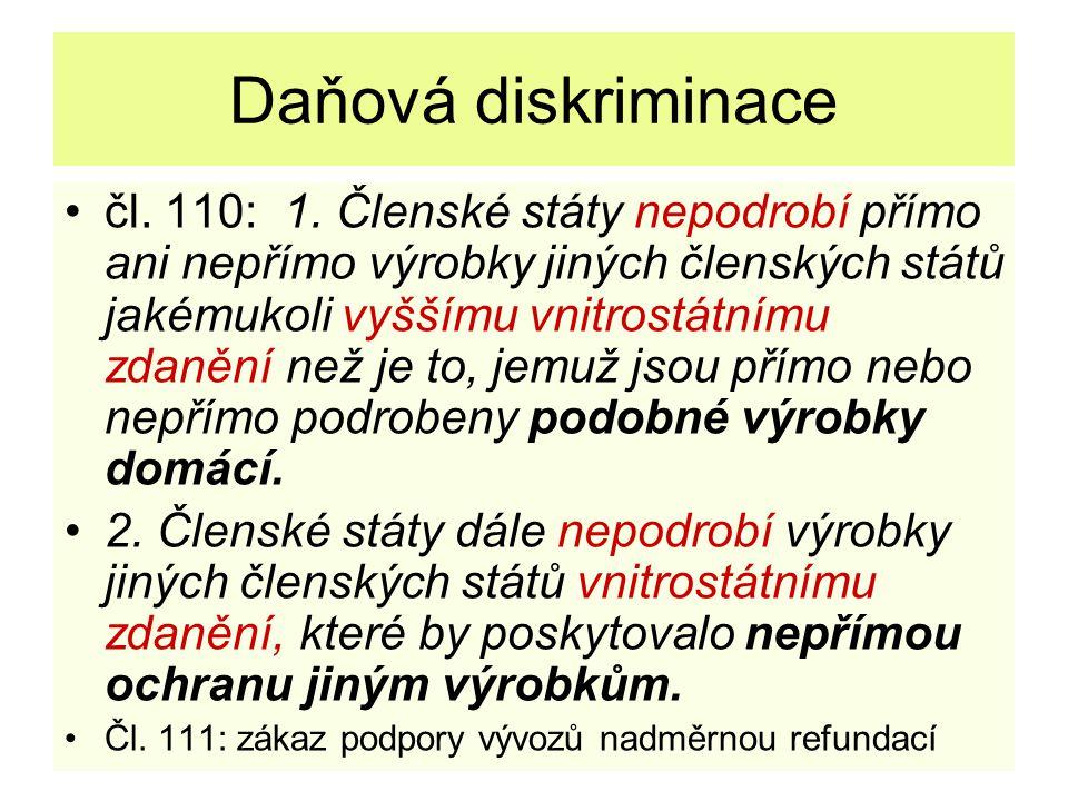 Daňová harmonizace metoda harmonizace: směrnice přijímání jednomyslně, bez spolurozhodování Evropského parlamentu nepřímé daně: čl.