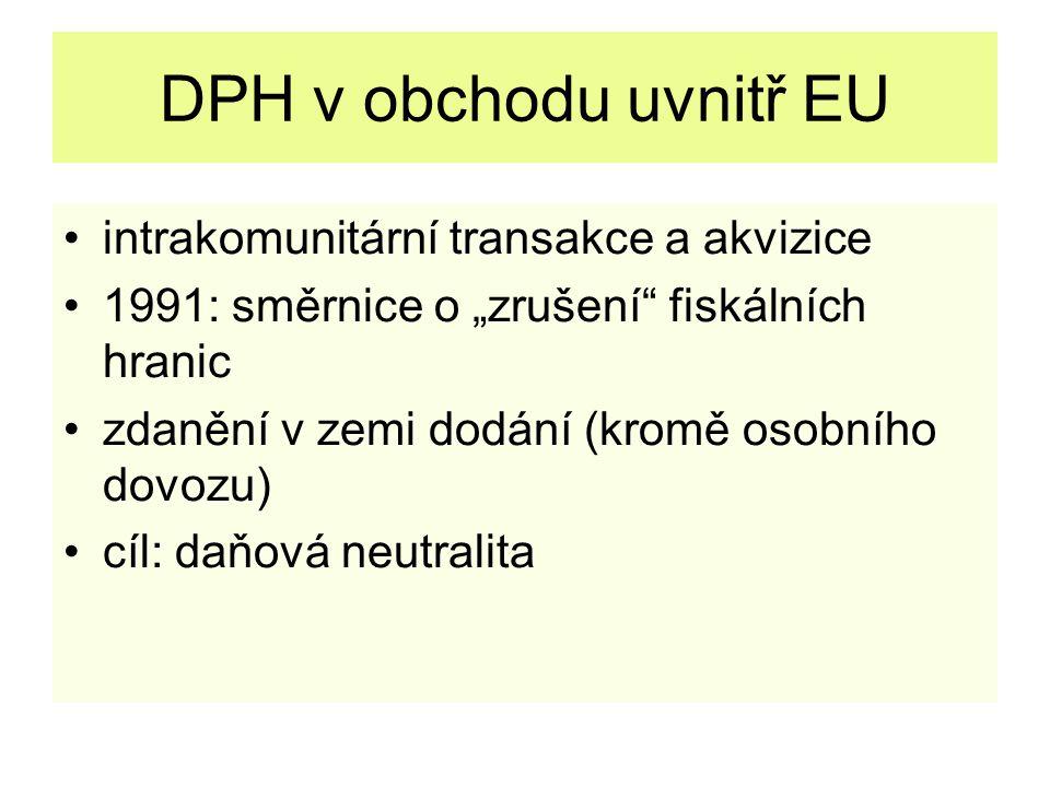 """DPH v obchodu uvnitř EU intrakomunitární transakce a akvizice 1991: směrnice o """"zrušení fiskálních hranic zdanění v zemi dodání (kromě osobního dovozu) cíl: daňová neutralita"""