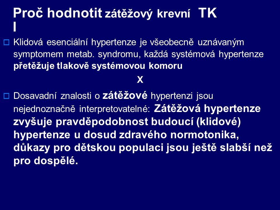 Proč hodnotit zátěžový krevní TK I  Klidová esenciální hypertenze je všeobecně uznávaným symptomem metab.