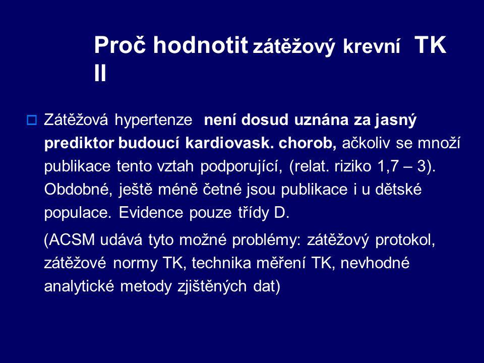 Proč hodnotit zátěžový krevní TK II  Zátěžová hypertenze není dosud uznána za jasný prediktor budoucí kardiovask.