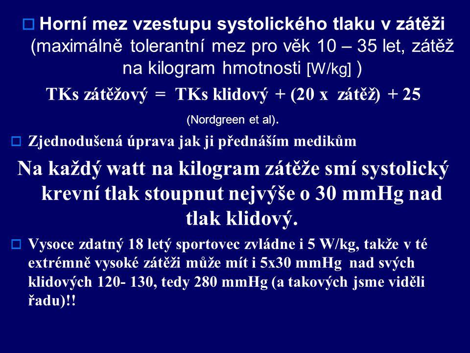  Horní mez vzestupu systolického tlaku v zátěži (maximálně tolerantní mez pro věk 10 – 35 let, zátěž na kilogram hmotnosti [W/kg] ) TKs zátěžový = TKs klidový + (20 x zátěž) + 25 (Nordgreen et al).