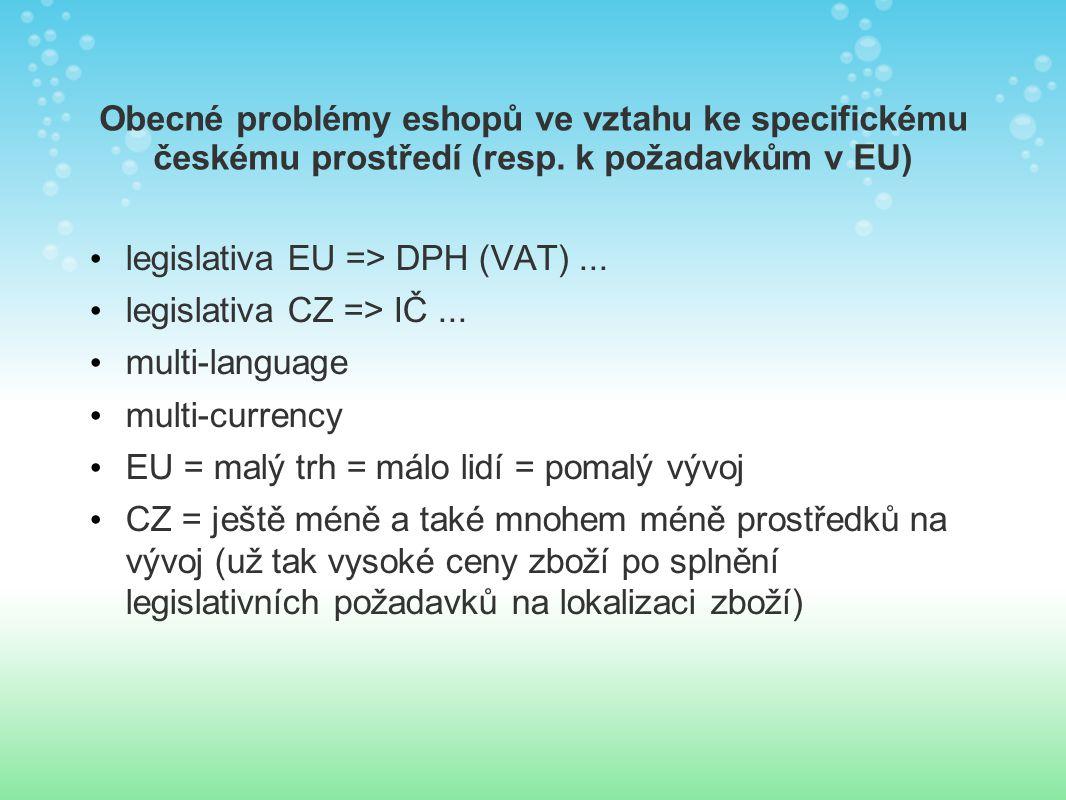 Obecné problémy eshopů ve vztahu ke specifickému českému prostředí (resp.