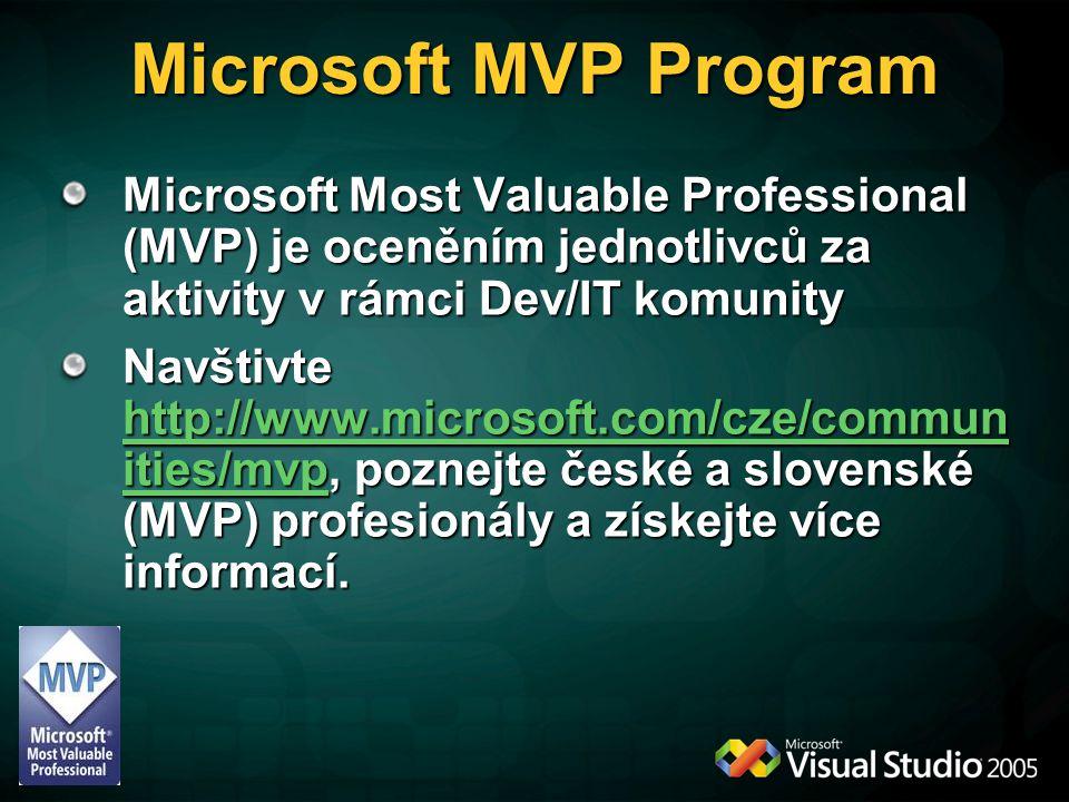 Microsoft MVP Program Microsoft Most Valuable Professional (MVP) je oceněním jednotlivců za aktivity v rámci Dev/IT komunity Navštivte http://www.microsoft.com/cze/commun ities/mvp, poznejte české a slovenské (MVP) profesionály a získejte více informací.