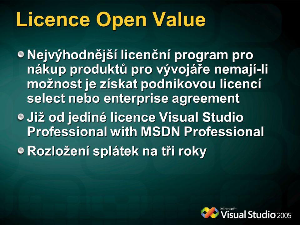 Licence Open Value Nejvýhodnější licenční program pro nákup produktů pro vývojáře nemají-li možnost je získat podnikovou licencí select nebo enterprise agreement Již od jediné licence Visual Studio Professional with MSDN Professional Rozložení splátek na tři roky