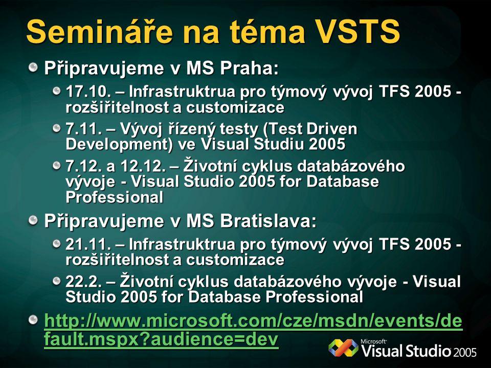 Semináře na téma VSTS Připravujeme v MS Praha: 17.10.