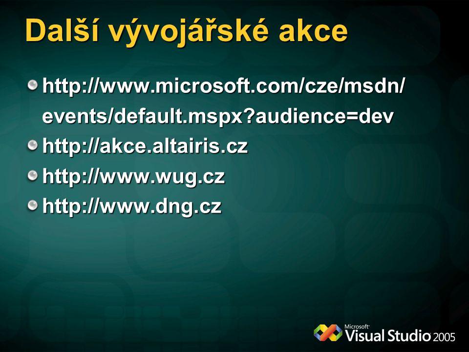 Další vývojářské akce http://www.microsoft.com/cze/msdn/events/default.mspx audience=devhttp://akce.altairis.czhttp://www.wug.czhttp://www.dng.cz