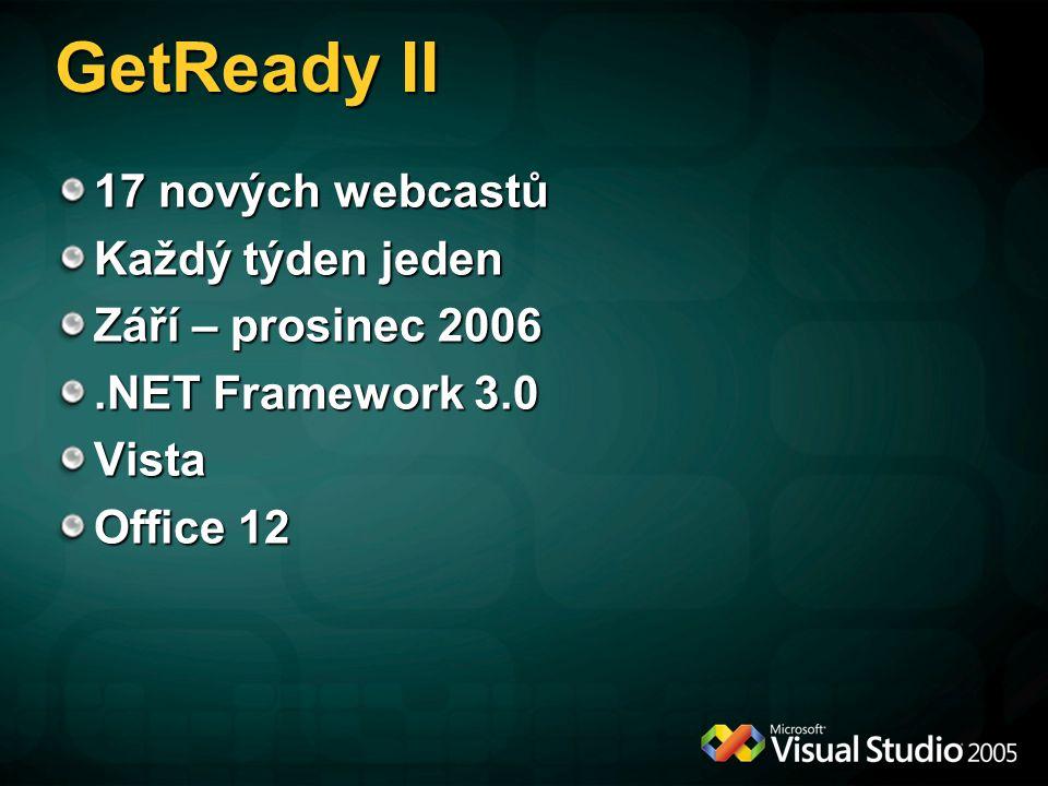 GetReady II 17 nových webcastů Každý týden jeden Září – prosinec 2006.NET Framework 3.0 Vista Office 12