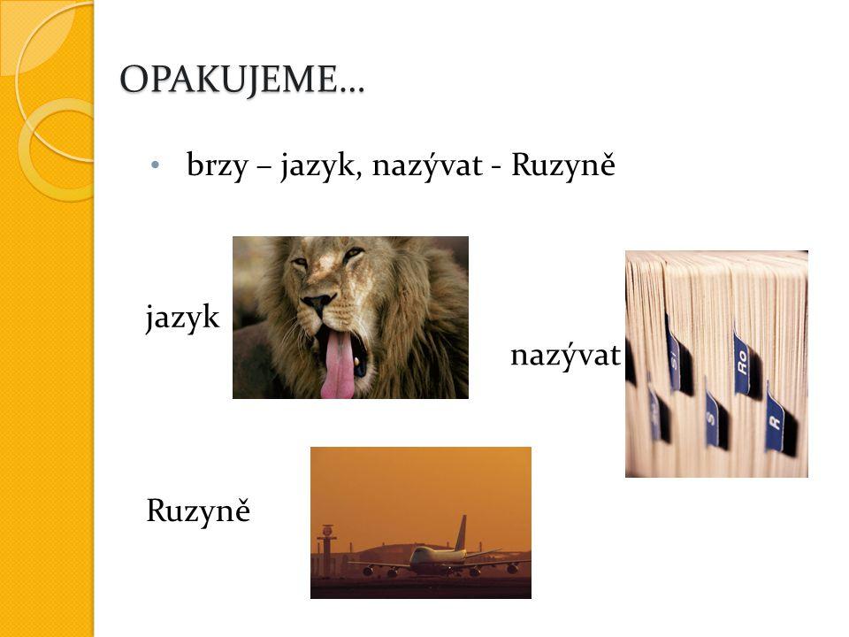 OPAKUJEME… brzy – jazyk, nazývat - Ruzyně jazyk nazývat Ruzyně